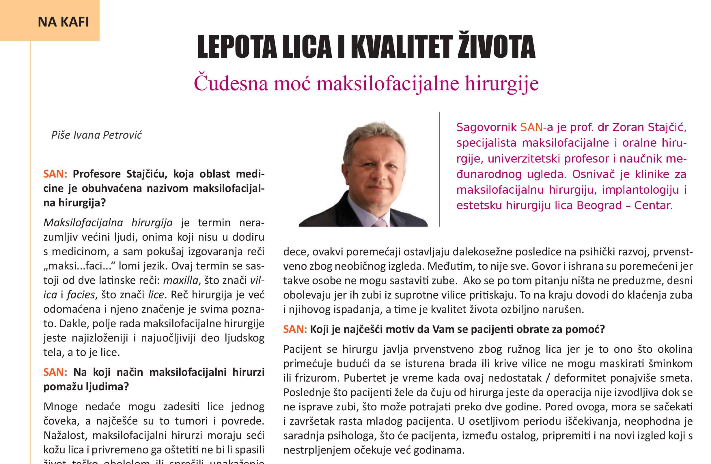 intervju profesor zoran stajcic hirurgija oralna kanada magazin